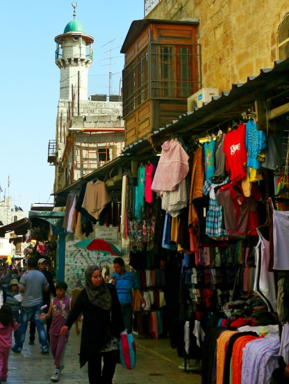 A view of a minaret from the Via Dolorosa