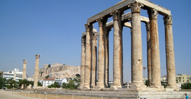 The Temple of Olympic Zeus, with the Parthenon in the background.