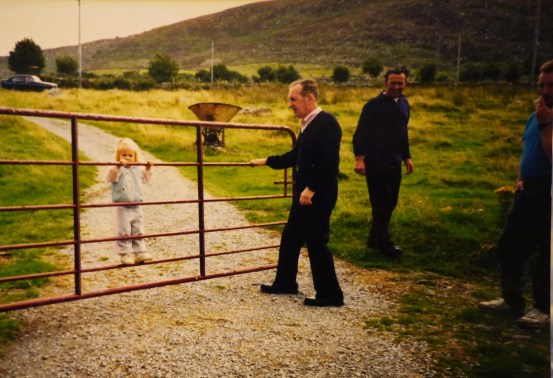 Little me, my grandfather, his brother, and my dad in Glenbeigh, Ireland, 1989.