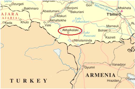 Akhalkalaki on the map