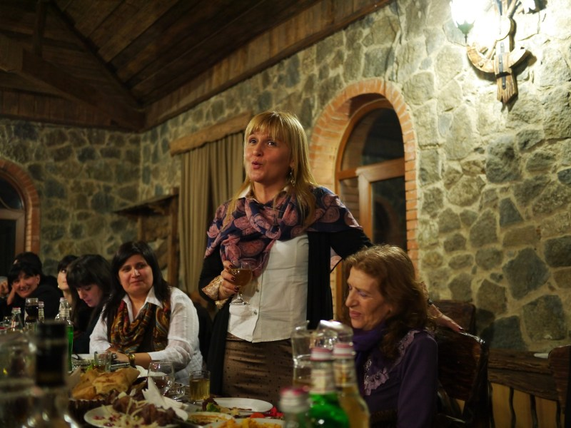 Toasts by women are rare. But as the highest ranking manager in the room, it was not unusual for Khatuna to toast.