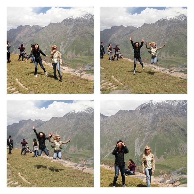 Jumping in Stepantsminda, Kazbegi