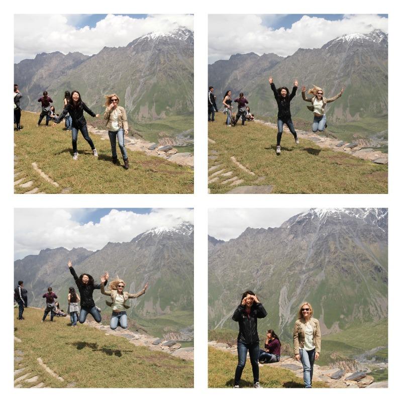 Jumping in Stepantsminda, Kazbegi